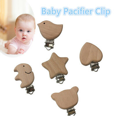 Color Toddler Infant Dummy Holder Beech Wood  Pacifier Clip DIY Pacifier Chain