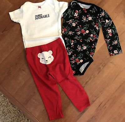 Carters Infant Girls Red Floral 3 Piece Outfit Size 24 Months