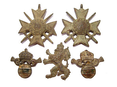 INTERESTING ANTIQUE ROYAL MILITARY INSIGNIA, AS FOUND - 5 pcs!!!