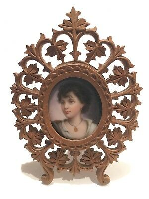 Antique Hand Painted On Porcelain Portrait In A Carved Frame