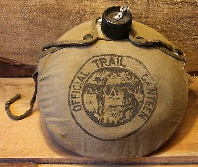 Vintage Boy Scout Official Trail Canteen Metal Canteen with Cloth Cover +