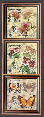 Mozambique 2002 Lord Baden-Powell-Orchids and Butterflies.Three MNH Imperf S/S