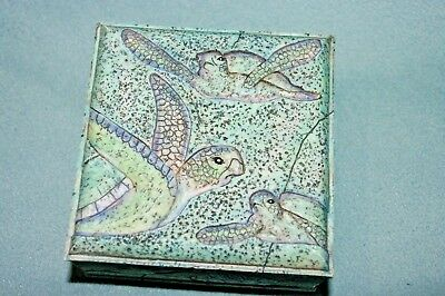 "Small Teal Color Trinket Box With Sea Turtles On It  4"" X 4""  1 3/4"" Deep"