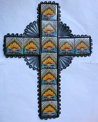 VINTAGE TALAVERA TILE & TIN Mexican FOLK ART Christian Wall CROSS. Superb!