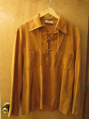 Vintage Suede Leather Shirt Lace Up men's or unisex halloween theater costume