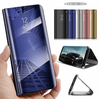 Samsung Galaxy S9 S8+ S7 Smart View Mirror Hybrid Leather Flip Stand Case Cover