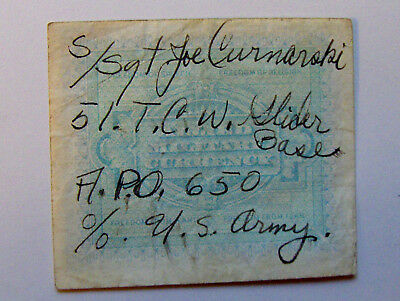 WW2 Short Snorter-Italy Allied Military Currency-51st Troop Carrier Wing Gliders