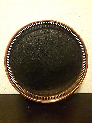 Vintage Coppercraft Guild Copper Bar Serving Tray with Black Faux Leather & Wood