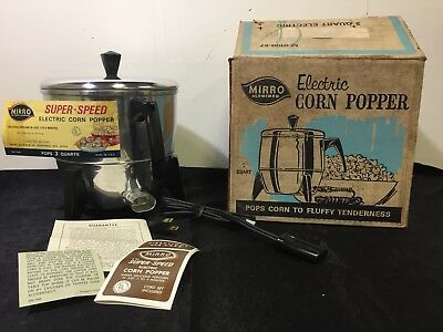 Vintage Mirro Electric Popcorn Popper M-0100-57 3 Qt Original Box