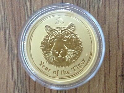 2010 1/10oz Lunar Gold Year of The Tiger Perth Mint .9999 Gold Bullion Coin