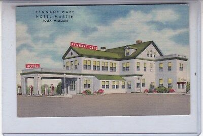 Route 66 Postcard Pennant Cafe Hotel and Gas Rolla Mo.Linen