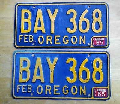 Vintage OREGON License Plate Pair (2) February 1965. BAY 368