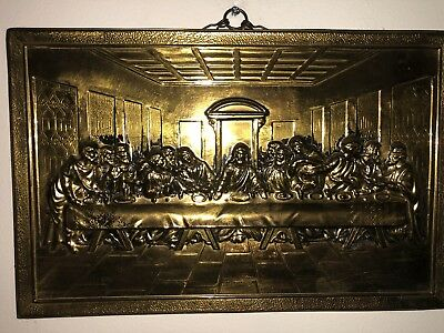 """Vtg 3D Metal THE LAST SUPPER Wall Hanging Picture JESUS & APOSTLES 14.5"""" x 9.5"""""""