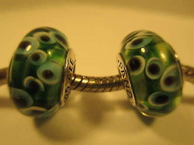 2 Pandora Silver 925 Ale Mystery Green Evil's Eyes Murano Glass Beads Charms New