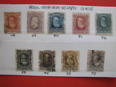 BRAZIL 1878-1879 SC#68 77 Used ROULETTED 10r to 1000r (no 700r) - SCOTT CV$135