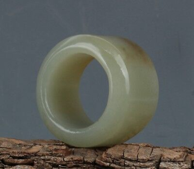 Chinese Exquisite Hand-carved natural Hetian jade Ring(Inside:23mm / 0.91inch)
