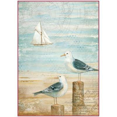 Stamperia Rice Paper Sheet ~ SEA AND SEAGULLS ~ A4 size One Sheet