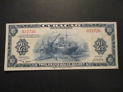 1942 Curacao 2 1/2 Gulden Blue Bank Note, Pick 36, Circulated  vf  ABNC