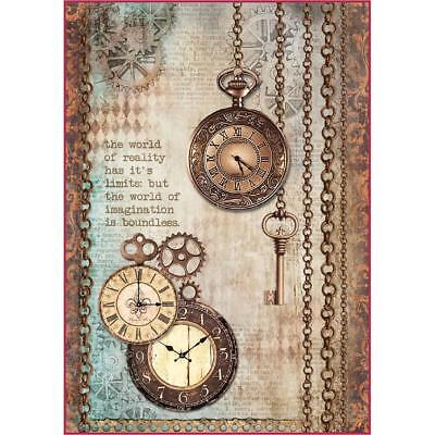 Stamperia Rice Paper Sheet ~ CLOCKWISE CLOCK & KEYS ~ A4 size One Sheet
