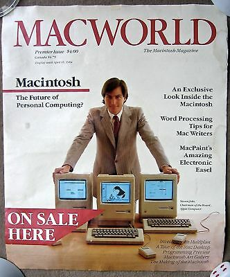 "VERY RARE MACWORLD 1984 VINTAGE STORE POSTER FOR 1st ISSUE OF MACWORLD 18"" X 22"""