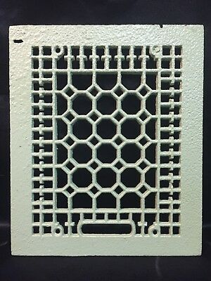 """Victorian Cast Iron Painted Floor Cold Air Return Grate 11.5 x 9.5"""" Register"""