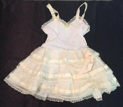 Vintage Girl's Size 3T by Her Majesty Full Slip Petticoat Cream Nylon Lace