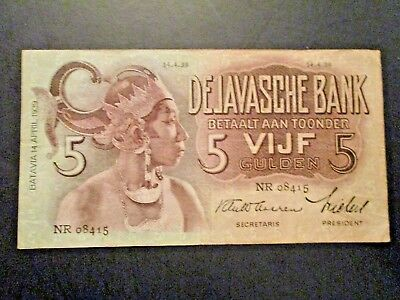 1939 Netherlands Indies De Javasche Bank, 5 Gulden Note, Circulated, Pick 78b f+