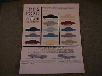 Very Scarce - 1962 Ford Full Size Color Chart - Unique Design Of Samples
