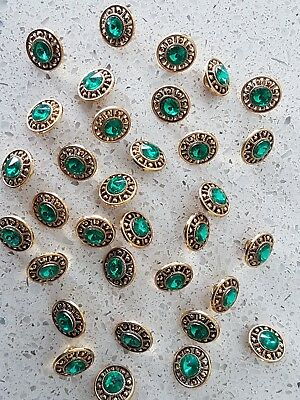 Lot of 20x Brand New 13mm Gold with Green Diamonte Vintage sewing buttons
