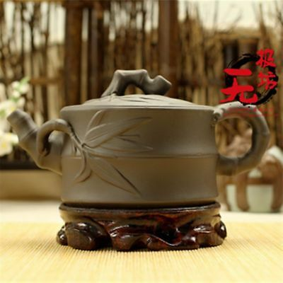 Exquisite Cinnabar Red Purple Sand Hand Engraving Bamboo Leaf Teapot