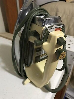 Vintage GE Self Cleaning Iron; Surge of Steam; Perm-Press; Water Window