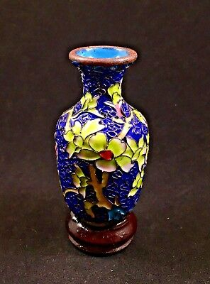 Vintage Blue Cloisonne Miniature Vase with Stand