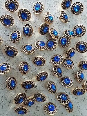 Lot of 20x Brand New 13mm Gold with Blue Diamonte Vintage sewing buttons