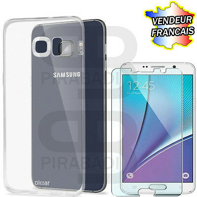 Hull Cover Silicon Case + Protection Tempered Glass Samsung Galaxy Note 5