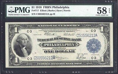 1918 United States National Bank $1 Philadelphia, PA PMG AU58 EPQ