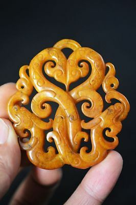 Exquisite Chinese old jade Carved Two-sided *dragon* pendant   F82
