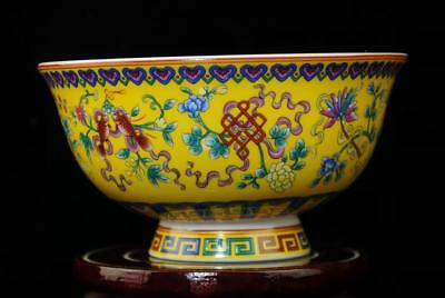 CHINESE PORCELAIN BOWL HAND-PAINTED eight treasures  QIANLONG MARK b01