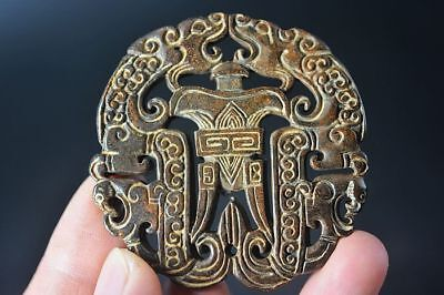 Delicate Chinese old jade Carved Two-sided *dragon/phoenix* amulet pendant   F82