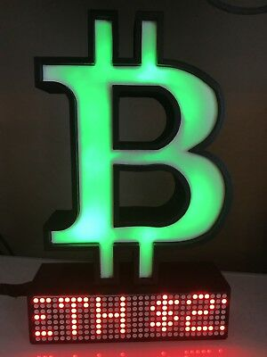 Bitcoin Crypto Coin Price Ticker LED Dot Matrix Display Wi-Fi RGB light Desk