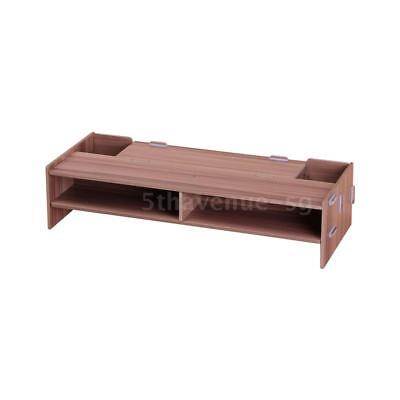 Wooden Monitor Stand Riser Computer Desk Organizer with Storage Slots for E6V5