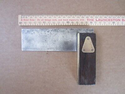 Vintage Carpenter Square Tool Wood Brass Handle