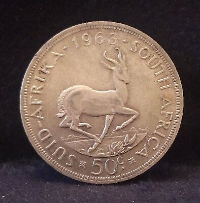 1963 South Africa silver 50 cents (crown) transitional coinage, XF+, KM-62 (SA2)
