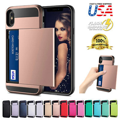 Shockproof Wallet Credit Card Holder Case Cover Fits Apple iPhone XS Max/XR/XS/X