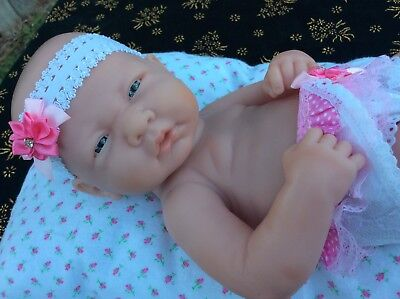 """BERENGUER Newborn Baby Doll 14"""" baby Reborn Doll, pillow included, feet damage"""