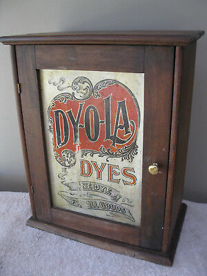 Rare   Antique Dyola (Dy-Ol-A) 2 Door  Advertising Cabinet  Original Condition