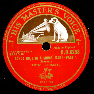 ARTUR SCHNABEL -PIANO-   Mozart: Rondo No. 2 in A Minor K. 511   78rpm  G3708
