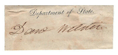 Daniel Webster Signature Cut as Secretary of State w/Engraving - Authentic!
