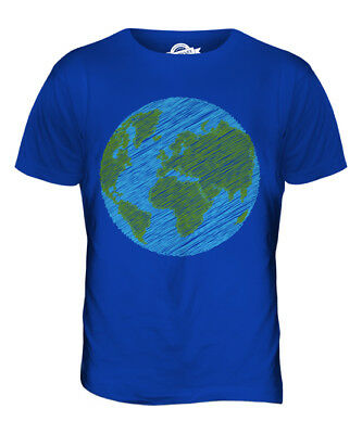 Scribbled Earth Mens T-Shirt Tee Top Giftpeace Planet