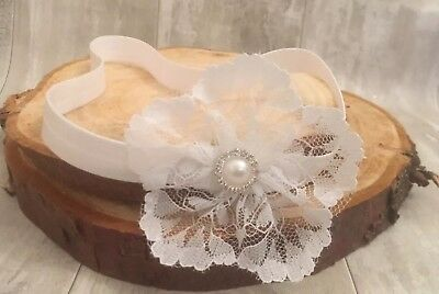 Baby Girl Pure White Christening Headband Baptism Wedding Pearl Flower Hairband