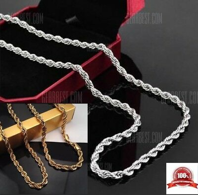 """Gold Plated Rope Cuban Twist Chain 24""""  *4 mm Iced Out Necklace Hip Hop Bling"""